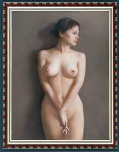 "Hand-painted Original Portrait Oil Painting art nude Girl on canvas 24""x36"""