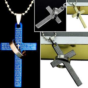 uomo-inox-acciaio-Moda-Bibbia-anello-ciondolo-croce-collana-gioielli-lt