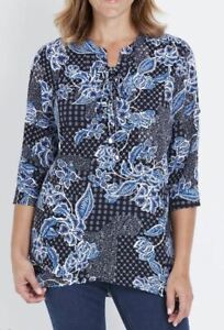 MILLERS-Blouse-Plus-Size-16-18-20-22-24-26-Top-Shirt-Blue-Floral-3-4-Sleeve