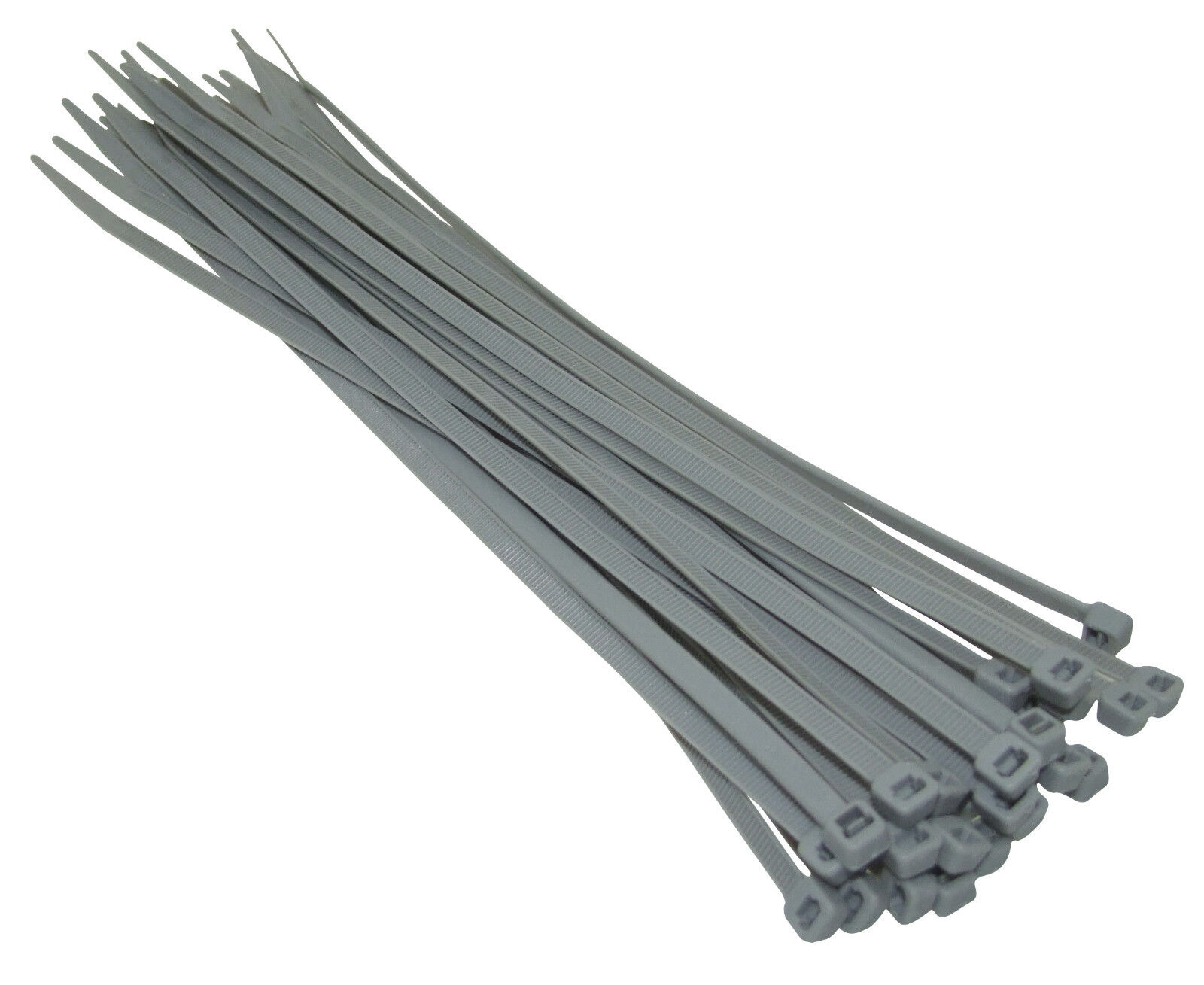 1000 x SILVER GREY 2.5mm WIDE x 100mm LENGTH - HEAVY DUTY NYLON CABLE ZIP TIES