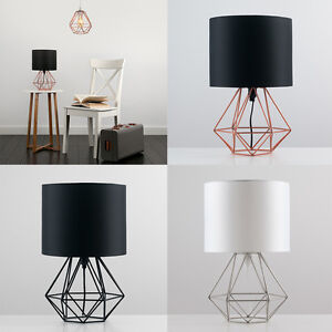 Image Is Loading Diamond Shape Geometric Table Lamp Drum Shade Bedside