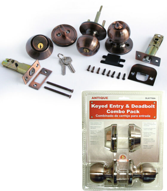 New Antique Keyed Round Entry Door Knob Lock Combo Set W// Deadbolt ANSI Grade 3