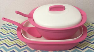New UNIQUE Tupperware Legacy Rice and Soup Server Bowl with Scoop 1.7L Pink