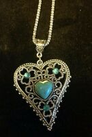 Royal Bali Design Heart Pendant Turquoise With 20 Inch Silver Popcorn Chain
