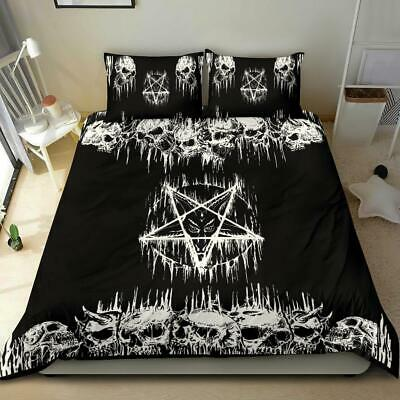 Satanic Pentagram Satanic Cross Serpent Bat Wing Demon Inception 3 Piece Duvet Set No Pentagram Bottom Corners By Request Original Brown-