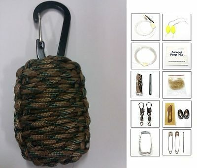 550 Paracord 20 Item Survival Pod Kit Tactical Pack Military Gear Color Choices