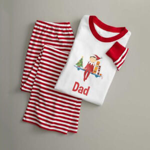 UK Family Matching Christmas Pyjamas PJS Set Elf Xmas Sleepwear Nightwear Casual