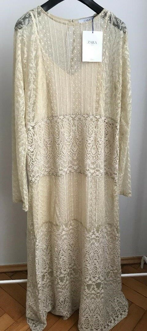 NWT ZARA LONG LACE Semi-Sheer Dress Vintage Style Size S Ref.3185 454