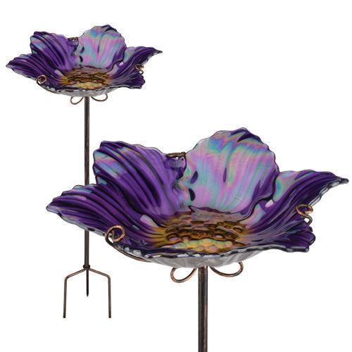 Bird Baths Glass - Birdbath/Feeder w/Stake - Purple - Regal Art & Gift 10920