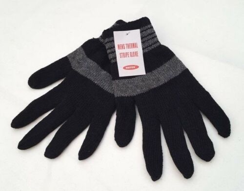 NUTEX Boys Mens Thermal Striped Gloves Strips Winter Warm Cozy Gloves Mitts New