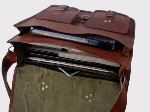 Vintage Genuine Leather Messenger Laptop Briefcase Satchel Bag Brown handmade
