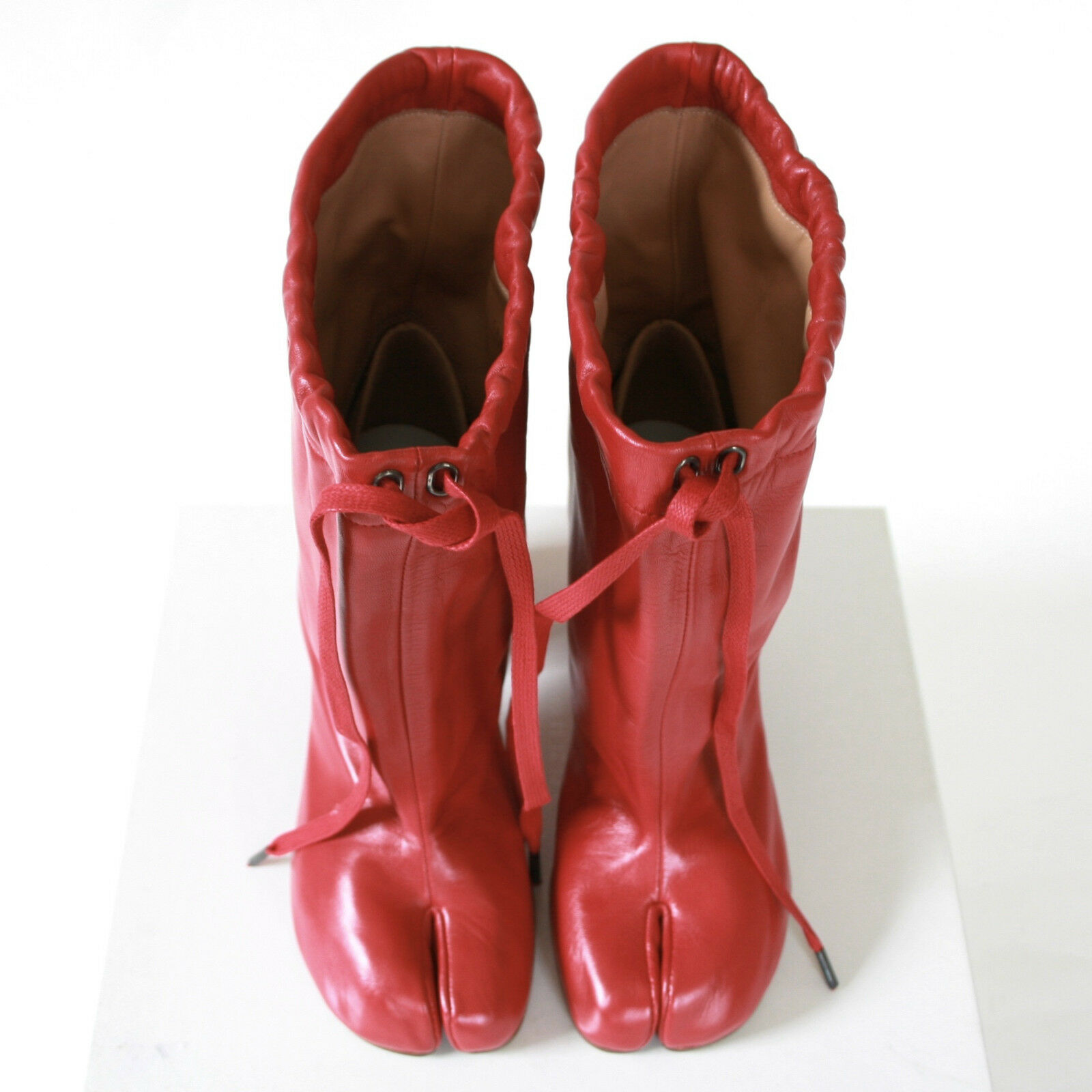 MAISON MARTIN MARGIELA split toe toe toe red leather high heel shoes tabi boots 37 NEW 378b19