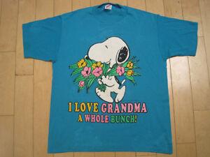 BEAT-UP-80s-vtg-SNOOPY-I-LOVE-GRANDMA-peanuts-CARTOON-T-SHIRT-50-50-LARGE