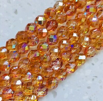 Jewellery Making Czech 6mm Firepolish Yellow Faceted Round Beads x50
