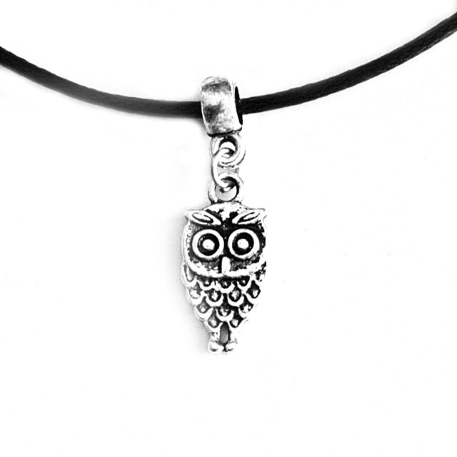 Owl Charm Pendant Choker Necklace with Black Cord