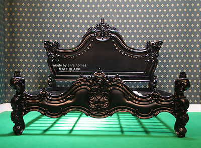 UK STOCK ~ Super King 6' GLOSS BLACK Chatelet Gothic style French Bed not rococo