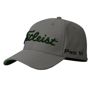Titleist Golf Dobby Tech Fitted Hat Prov1 FJ Logos Charcoal Black Lime Green  M l for sale online  674d6acaec18
