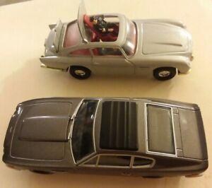 2x-Lote-Corgi-James-Bond-007-Aston-Martin-Plata-DB5-amp-Carbon-Volante-muy-Buen-Estado-aceptable