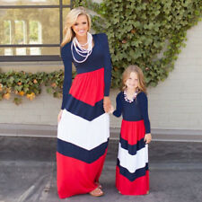 699cdb0f136 4th Of July Mother Daughter USA Flag Chevron Maxi Boho Long Evening Party  Dress