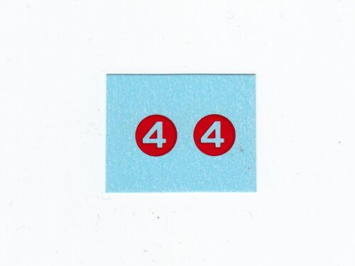 Dinky 23A//220 Racing CarNumber 4Waterslide Transfer//Decal