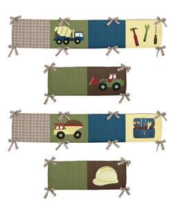 Construction-Truck-Baby-Boy-Blue-Yellow-Green-Brown-4-Piece-Crib-Bumper-Pad