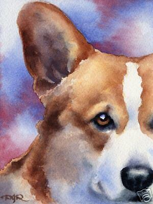 WELSH CORGI Watercolor DOG ART 13 X 17 LARGE by Artist DJR