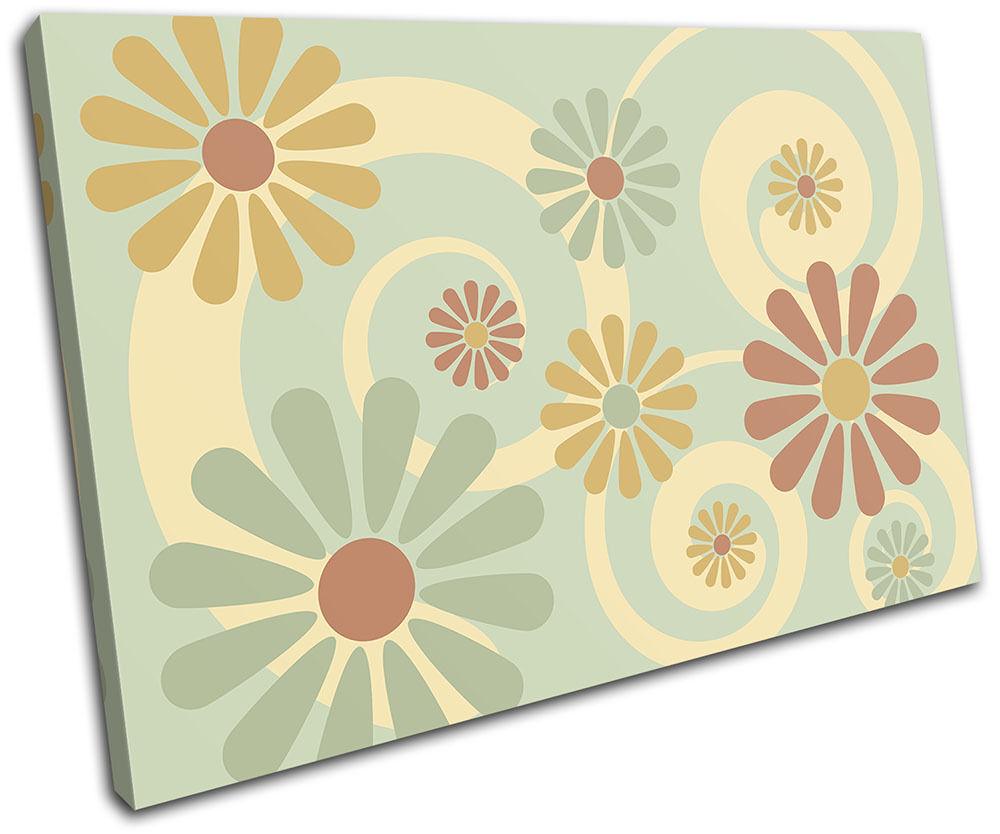Swirls Retro Vintage Floral SINGLE TELA parete arte foto stampa