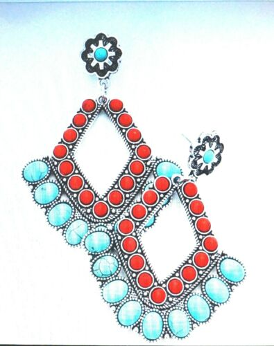 OVAL TRIBAL CORAL TURQUOISE CLUSTER DANGLE EARRINGS