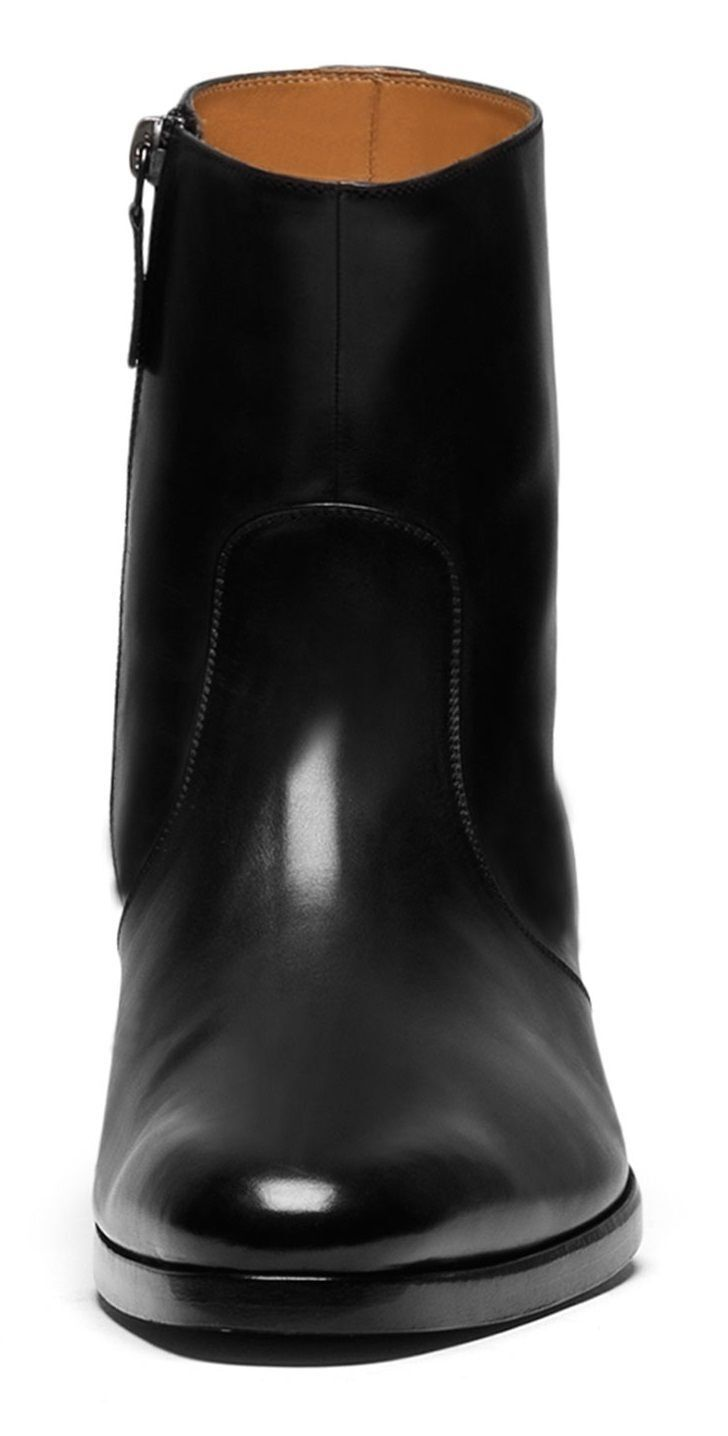 MENS HANDMADE BLACK SIDE ZIPPER HIGH QUALITY LEATHER ANKLE BOOTS FOR MENS