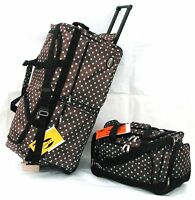 30 50lb Cap. 2pc Set Brown With Blue Polka Dots Wheeled / Rolling Duffle Bag