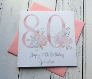 Image Is Loading Happy 80th Birthday Card Floral Eighty Greeting