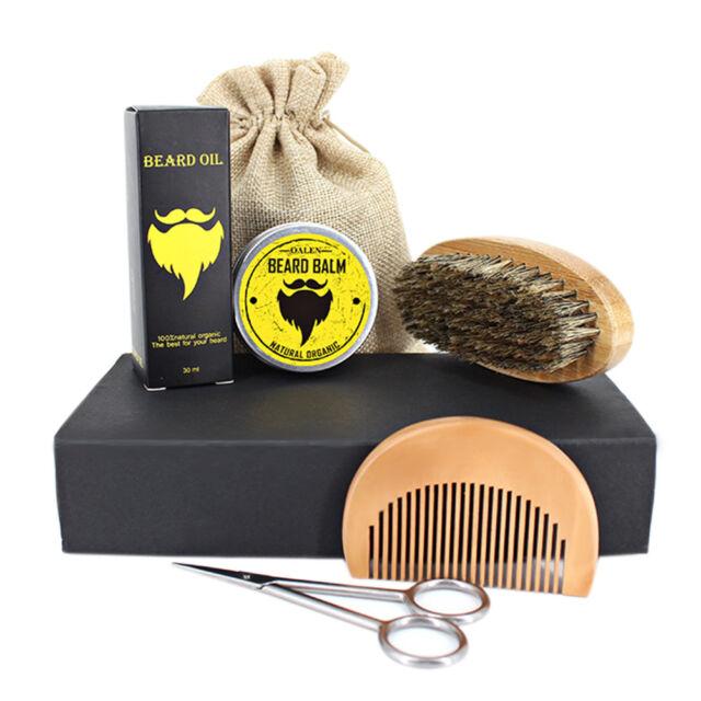 5 Pieces Beard Care Kit Moustache Nourishing Shaving Cream Set in Box For Men