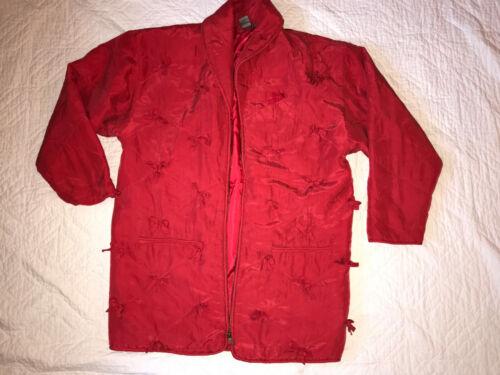 Robert Stock SILK red JACKET coat size L vintage 9