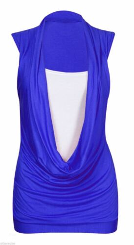 Ladies Womens Gathered Cowl Neck Contrast Insert Long Vest Top Plus Size 8-26