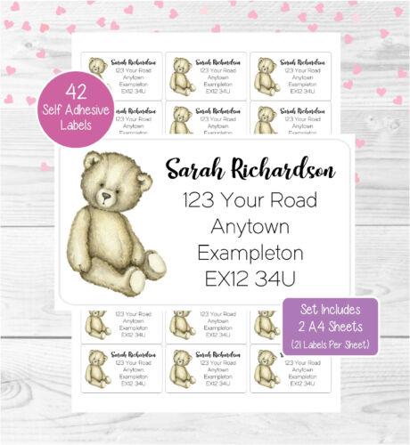2 A4 Sheets 42 Custom Return Stickers Teddy Bear Personalised Address Labels