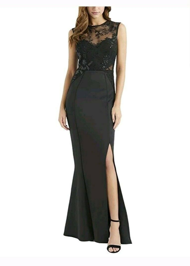 BNWT Lipsy Mesh Embroidered Sequin Applique Fishtail Maxi Dress UK10 RRP