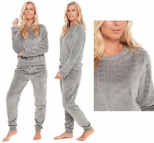 best cheap 8f6a9 ef2ad Details zu Ladies Fleece Pyjamas Loungewear Womens Pajamas Twosie Grey  Cable Winter Warm