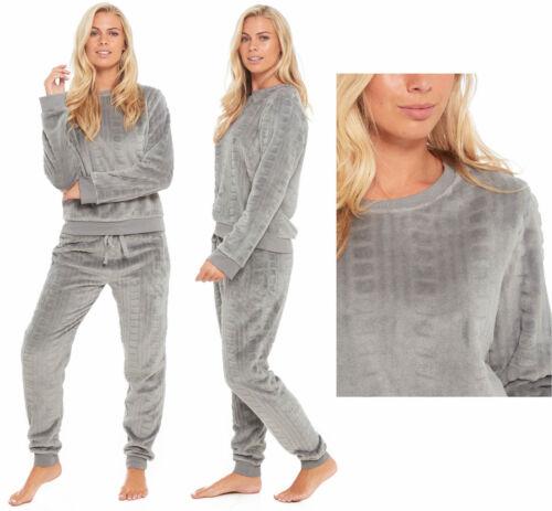 Femmes Polaire Pyjama De Détente Femme Pyjama twosie Gris Câble Hiver Chaud