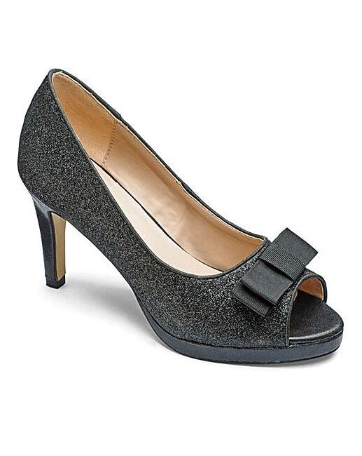Heavenly Soles Womens UK 6 E Wide Fit Black Fine Glitter Peep Toe Stiletto Shoes