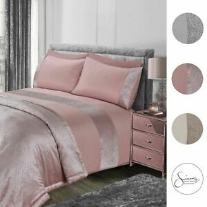 Sienna-Glitter-Duvet-Cover-with-Pillow-Case-Sparkle-Velvet-Bedding-Set-Grey-Pink