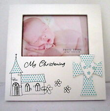 "BABY BOY KEEPSAKE ""MY CHRISTENING"" TIMBER PHOTO FRAME BABY SHOWER NEWBORN GIFT"