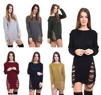 Women Long Sleeve Ripped Torn Jumper Ladies Scoop Neck Blouse Sweater Woolly Top