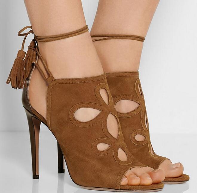 2019 Womens European Oxford Party Peep Toe Ankle Strap High Heel shoes Uk Sz