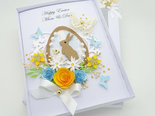 Handmade Personalised Luxury Easter Card Presentation Box 3D Greeting Folded