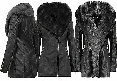 M78 NEW WOMENS LADIES FUR STOLE COLLAR P V C LEATHER JACKET COAT IN 06-18
