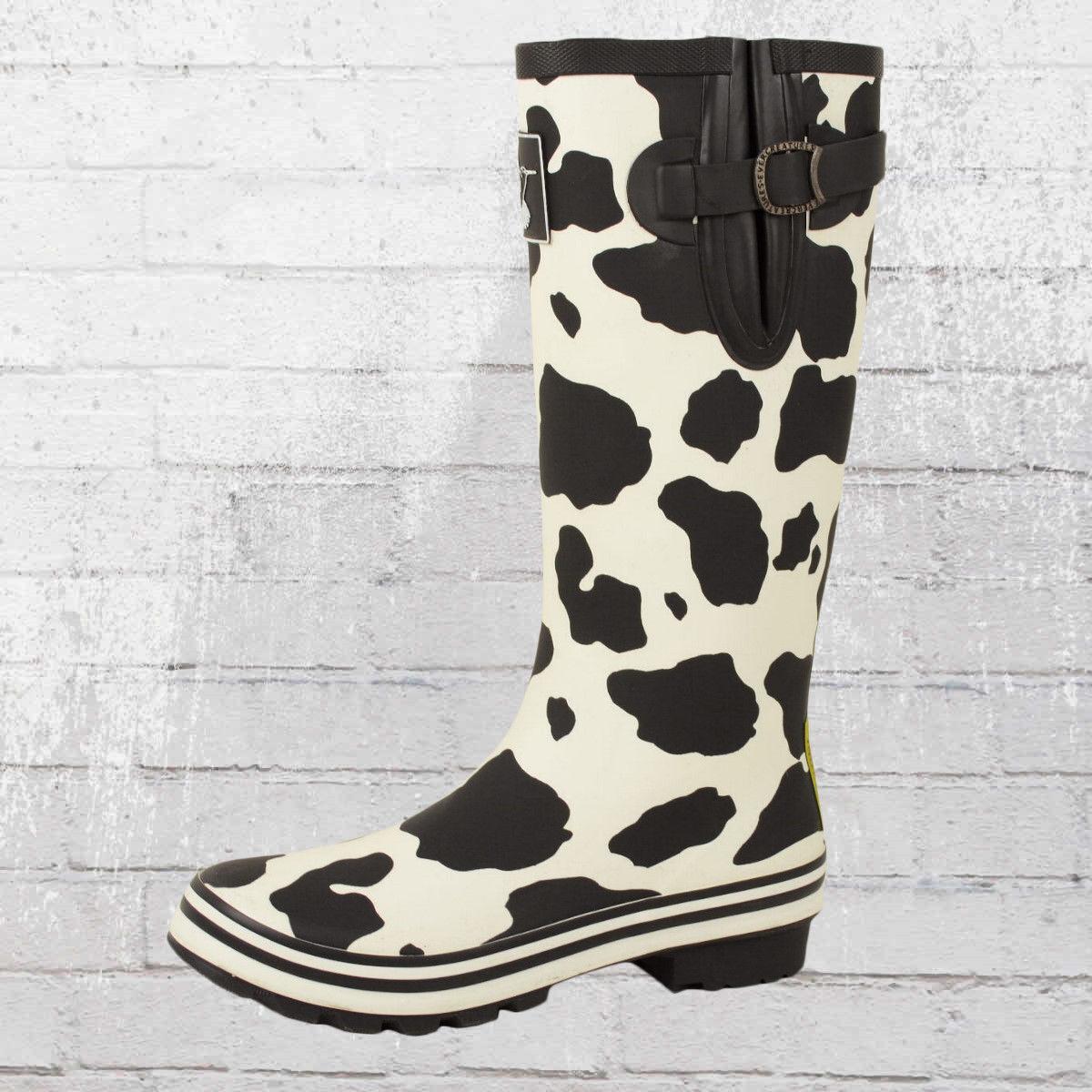 Evercreatures femmes kuhflecken bottes en Caoutchouc Cow noir blanc Wellington Wellies