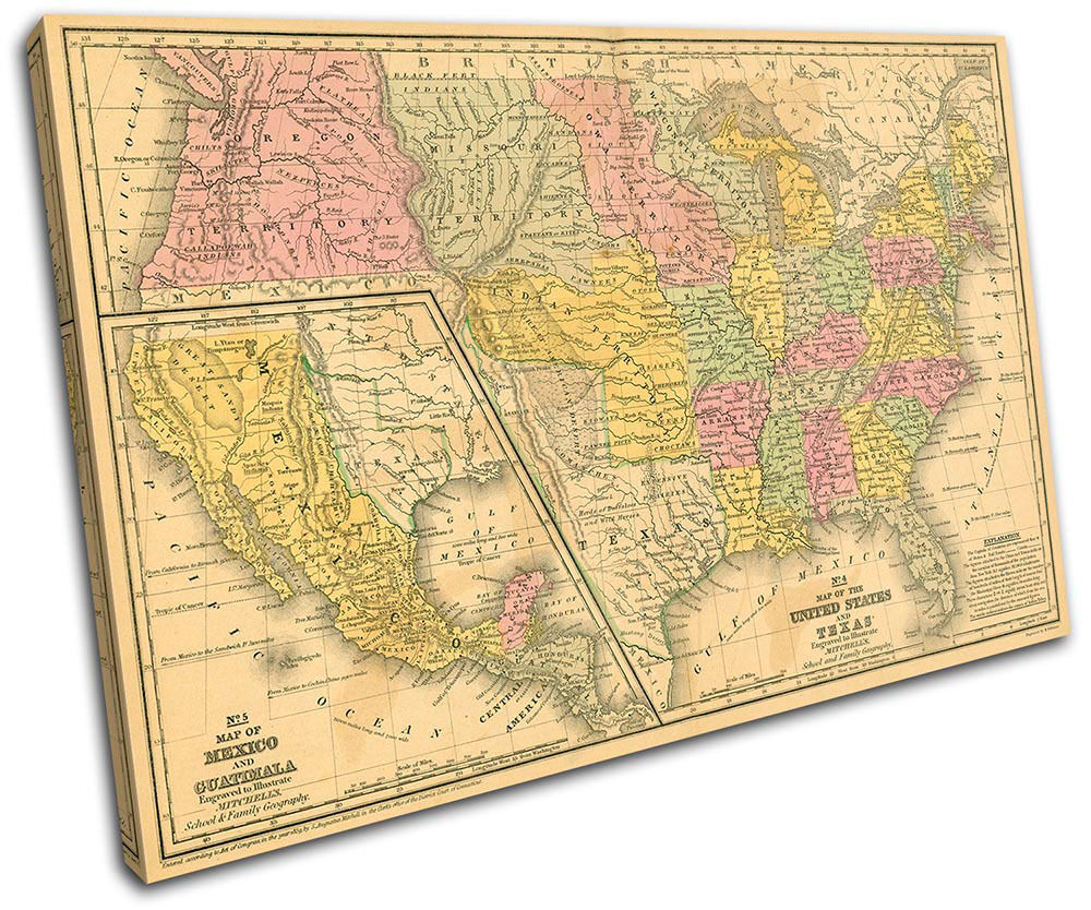 Old USA American Atlas Maps Flags SINGLE TOILE murale ART Photo Print