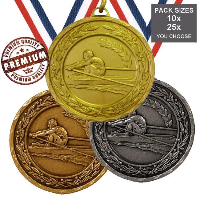 Lot de 10x Aviron médailles 50 50 50 mm Top qualité, avec des rubans, 3 couleurs, free PP b8b509