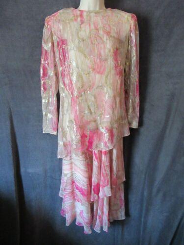 Vintage The Silk Farm Pink Gold Metallic Tan Sheer