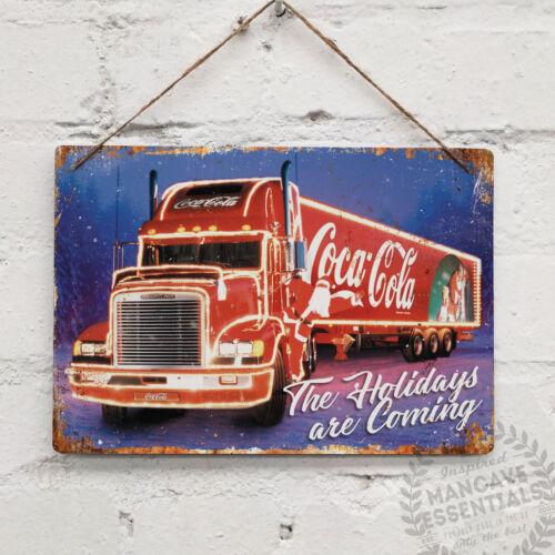 Coke Santa Truck Replica Vintage Metal Wall sign Cola Retro Kitchen Christmas
